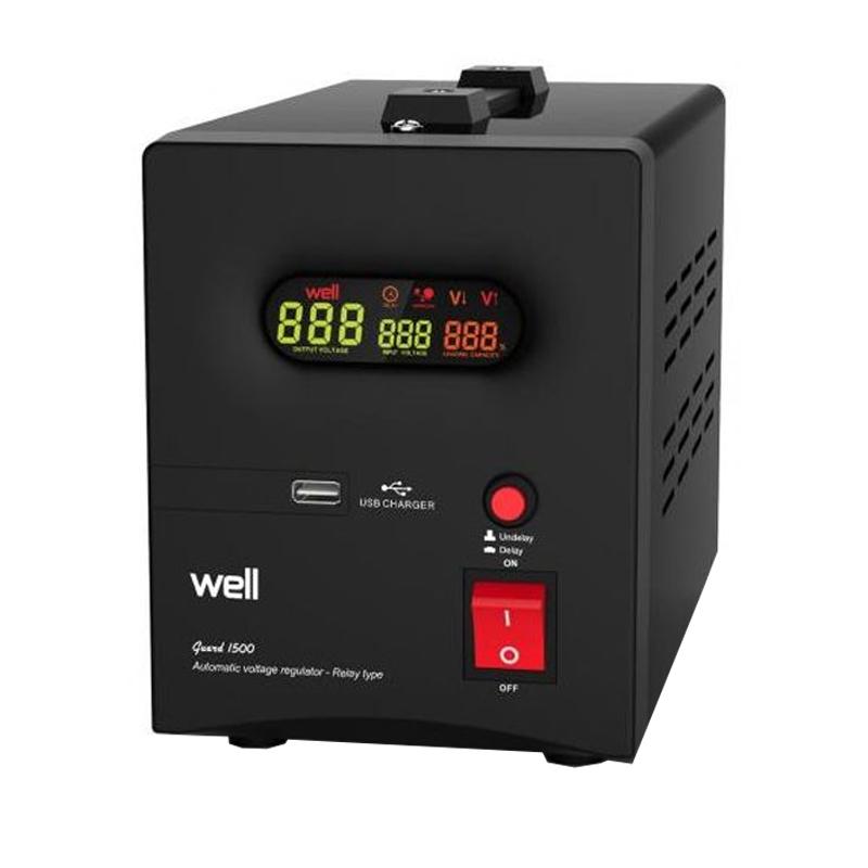 Stabilizator automat de tensiune Well, 1500 VA, USB shopu.ro