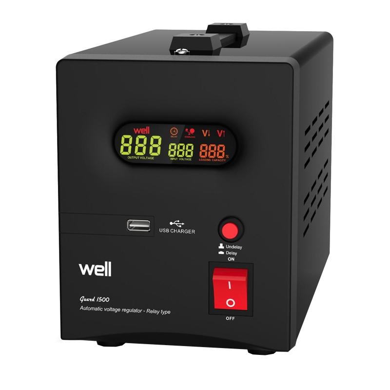 Stabilizator automat de tensiune cu releu Well, 500VA/300W 2021 shopu.ro