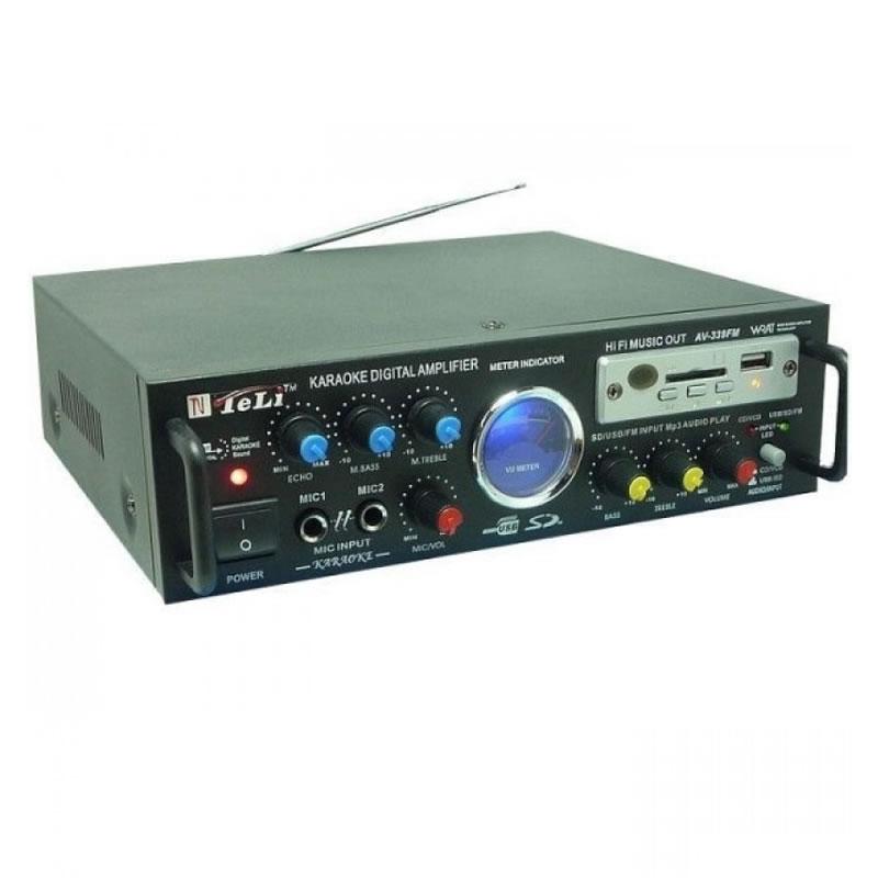 Statie amplificare karaoke cu MP3 si radio AV-339FM, stereo, alimentare 12 v si 220 V 2021 shopu.ro