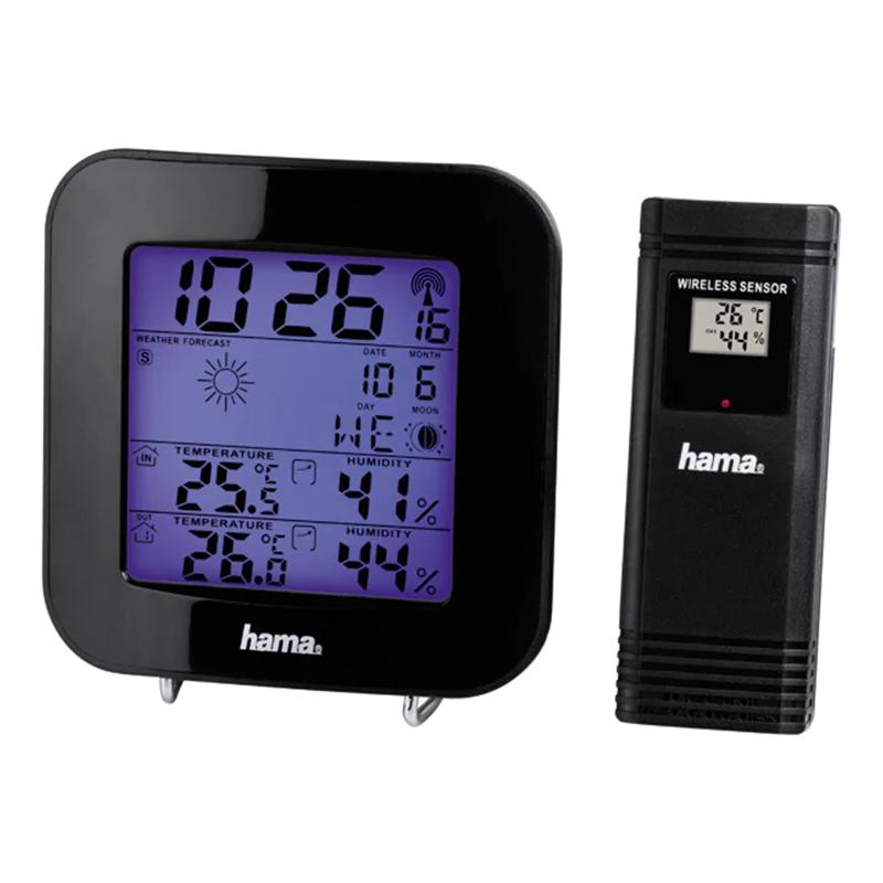Statie meteo Hama, ecran LCD, ceas DCF, functie snooze, Negru 2021 shopu.ro