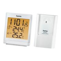 Statie meteo wireless Hama, ecran LCD, distanta 50 m, functie snooze/alarma, Alb