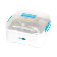Sterilizator microunde BebeduE, 3 biberoane, Alb/Transparent