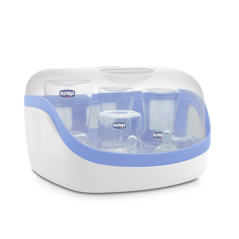 Sterilizator pentru microunde Steril Natural Chicco, 840 W, polipropilena, maxim 5 biberoane, 0 luni+ 2021 shopu.ro