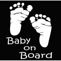 Sticker Baby on board, 12cm x 12cm