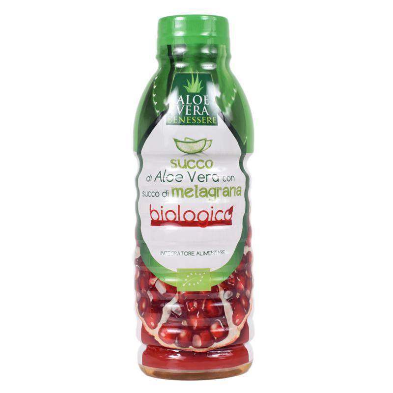 Suc Bio de Aloe Vera cu rodie Benessere, 500 ml