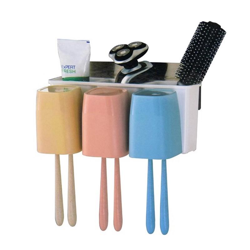 Suport baie periute de dinti/accesorii 2 in 1 Magic Sticker shopu.ro