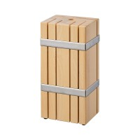 Suport cutite lemn masiv de mesteacan, 10 x 13 x 27 cm, capacitate 6 cutite, bej