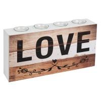 Suport decorativ pentru lumanari cu mesaj, lemn/sticla, 40 x 8 x 20 cm