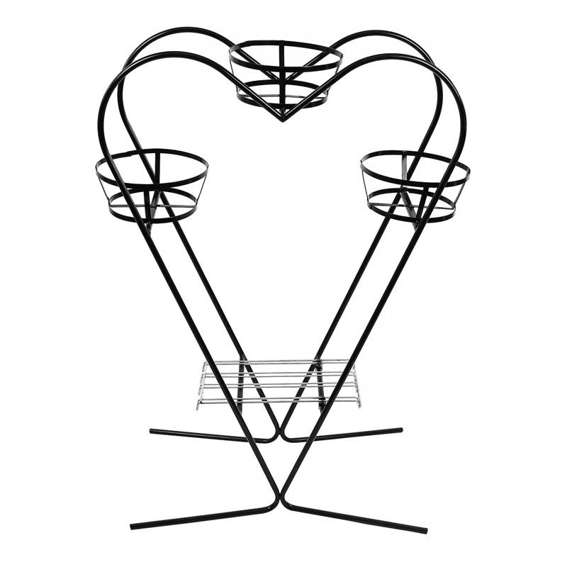 Suport ghiveci flori model inima, metal, negru, 73 x 30 x 100 cm 2021 shopu.ro