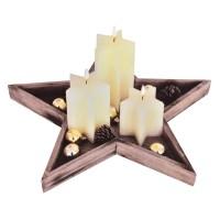 Suport lemn cu 3 lumanari Candle Gift Set, model stea