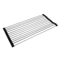 Suport metalic pliabil pentru vase, 42 x 23 cm, Argintiu/Negru