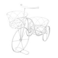 Suport pentru ghivece tip bicicleta, 45 x 22 x 34 cm, Alb