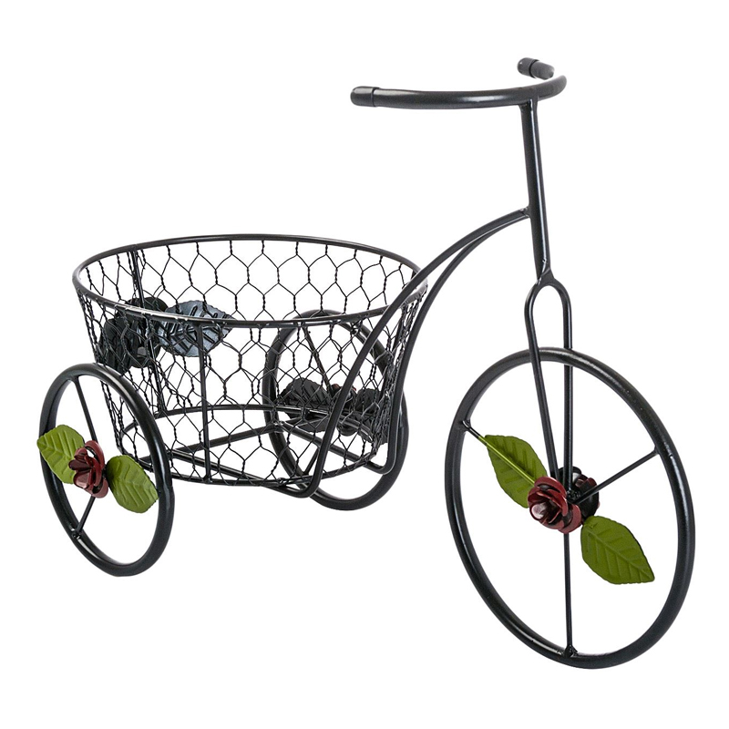 Suport pentru ghivece, 28 x 38 cm, tip bicicleta, model floral 2021 shopu.ro