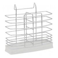 Suport pentru tacamuri Sapir, 17 x 7 cm, Argintiu/Alb