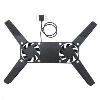 Suport pliabil pentru laptop, 2 ventilatoare, USB, Negru