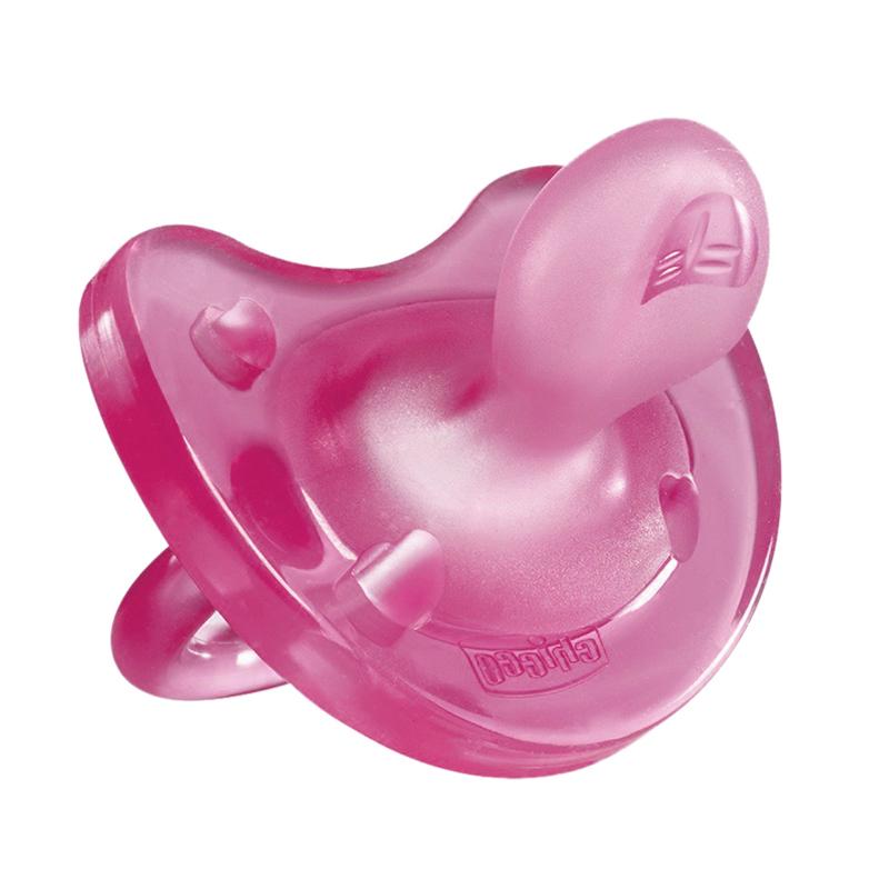 Suzeta silicon monobloc Physio Soft Light Chicco, forma ortodontica, 16-36 luni+, Roz 2021 shopu.ro