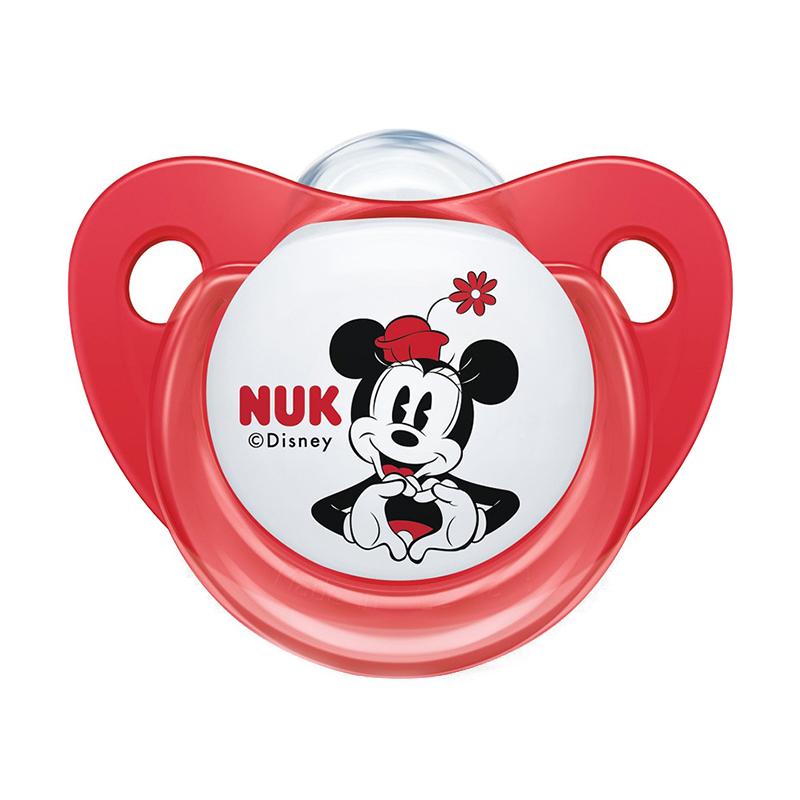 Suzeta M2 Nuk, silicon, varf plat, 6-18 luni, model Mickey, Rosu 2021 shopu.ro