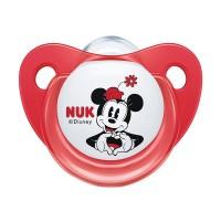 Suzeta M2 Nuk, silicon, varf plat, 6-18 luni, model Mickey, Rosu