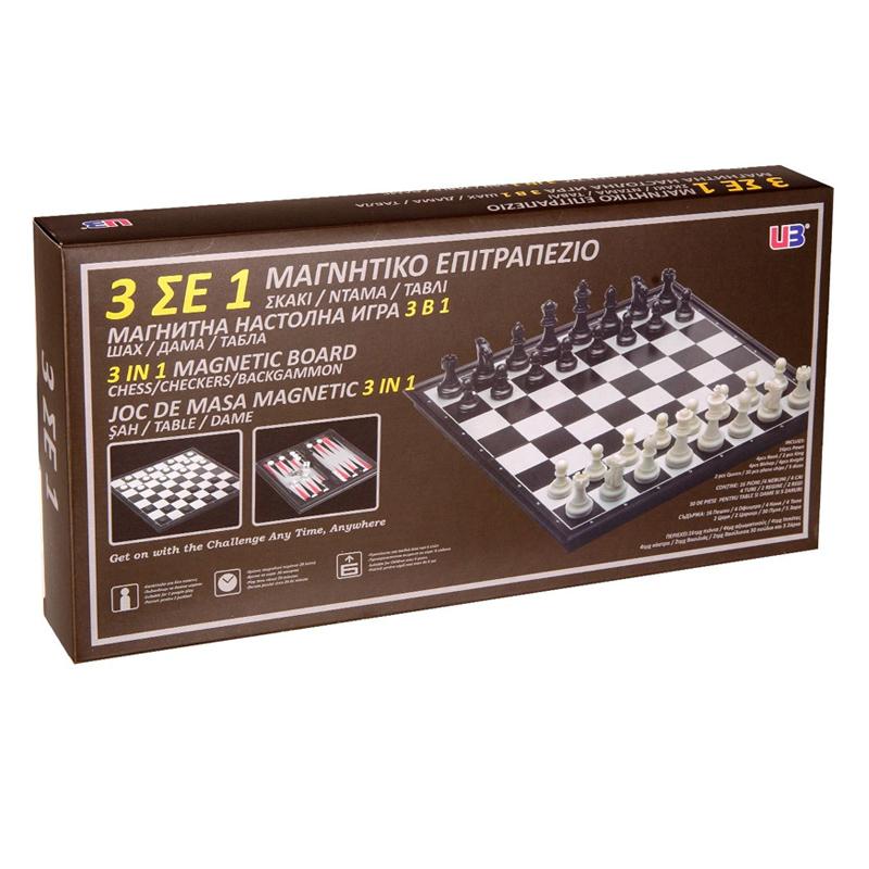 Tabla de sah magnetica 3 in 1, 30 piese 2021 shopu.ro