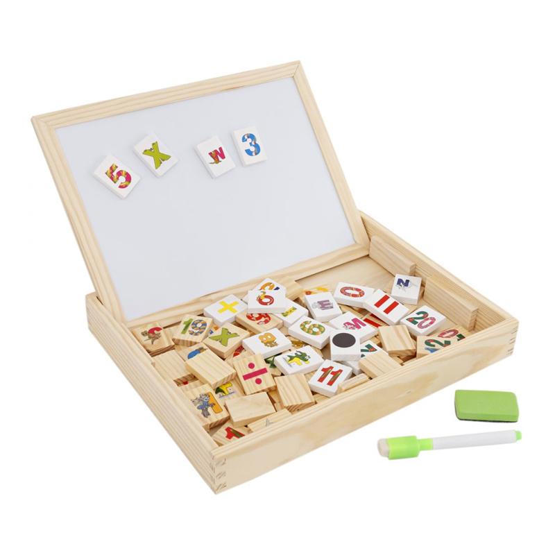 Tabla magnetica de scris, litere si cifre lemn, marker si burete incluse, 36 luni+
