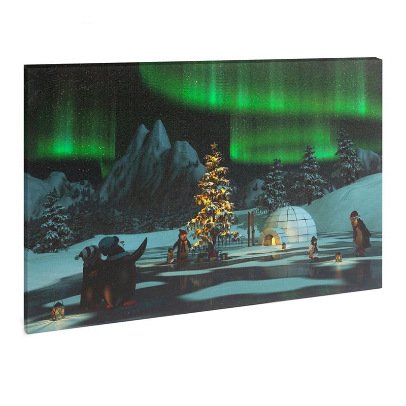 Tablou cu LED Family Pound, 30 x 40 cm, model lumina polara, lumina verde 2021 shopu.ro