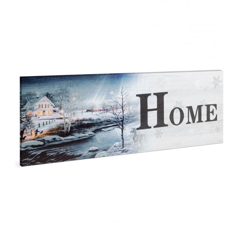 Tablou cu LED Family Pound, 30 x 70 cm, 2 x AA, model peisaj de iarna, Alb/Galben 2021 shopu.ro