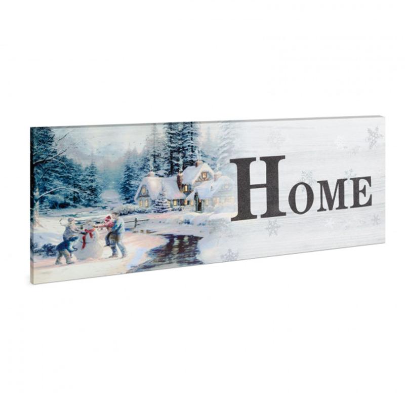 Tablou cu LED Family Pound, 30 x 70 cm, model peisaj de iarna, lumina alb/galben 2021 shopu.ro
