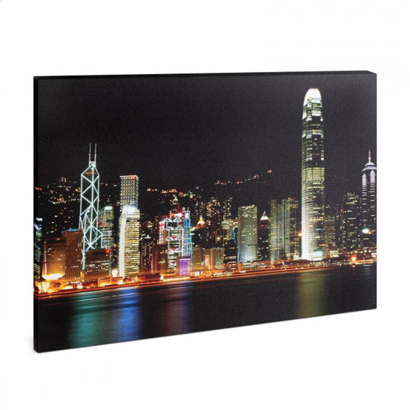 Tablou cu LED Family Pound, 38 x 48 cm, 2 x AA, model Hong Kong, RGB 2021 shopu.ro