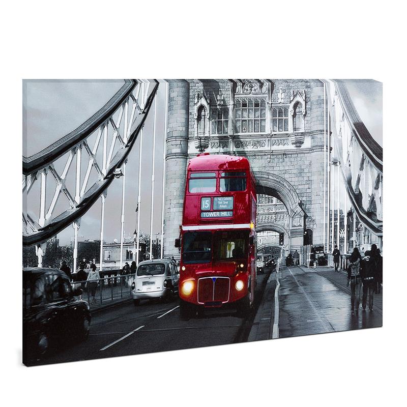 Tablou cu LED Family Pound, 38 x 48 cm, 2 x AA, model London Bus, lumina alb cald 2021 shopu.ro