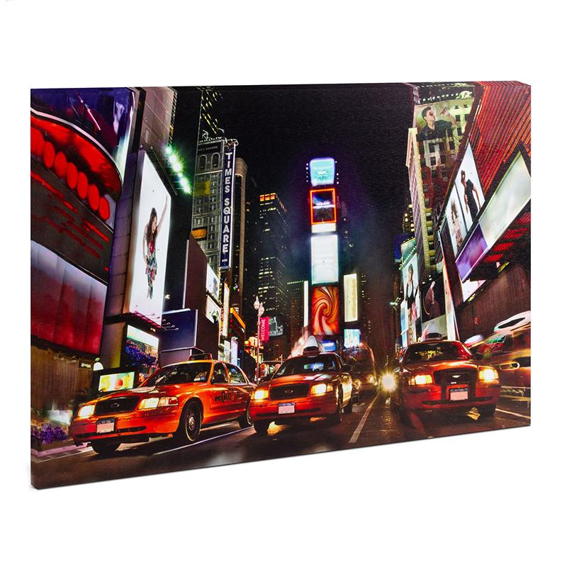 Tablou cu LED Family Pound, 38 x 48 cm, 2 x AA, model Times Square, lumina alb cald/RGB shopu.ro