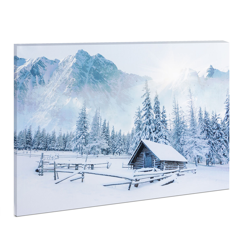 Tablou cu LED Family Pound, 38 x 48 cm, model peisaj de iarna, lumina alb/alb rece 2021 shopu.ro