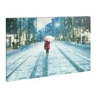 Tablou cu LED Family Pound, 30 x 40 cm, intrerupator on/off, peisaj de iarna, Galben
