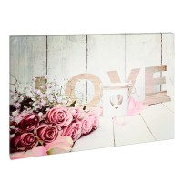 Tablou cu LED Family Pound, 30 x 40 cm, model love, lumina alb cald