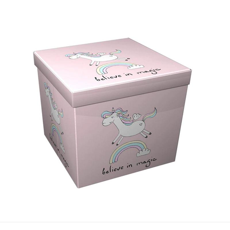 Taburet pliabil Heinner Unicorn, 38 x 38 x 37.5 cm, sezut 20 mm, spatiu depozitare, pvc printat, Roz shopu.ro