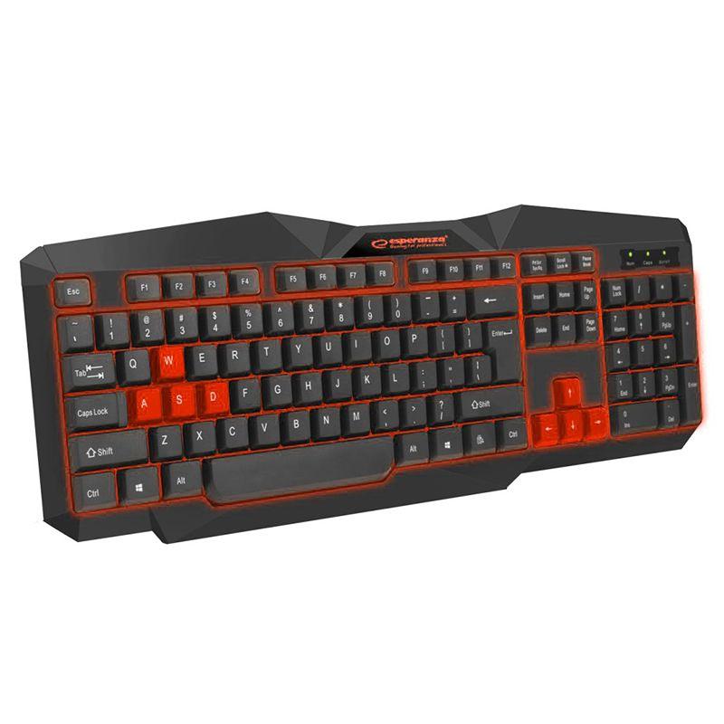 Tastatura Gaming USB Tirions Esperanza, LED Rosu 2021 shopu.ro