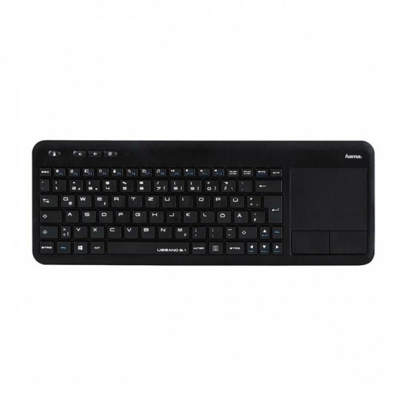 Tastatura wireless pentru Smart TV Hama Uzzano 3.1, touchpad integrat, Negru 2021 shopu.ro