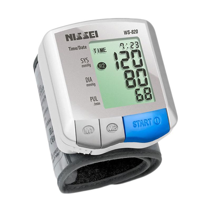 Tensiometru electronic de incheietura Nissei WS-820, afisaj LCD, memorare 2 x 60 de valori, Alb/Gri 2021 shopu.ro