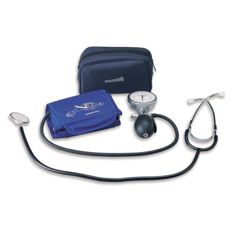 Tensiometru mecanic profesional cu stetoscop Microlife, manseta 25-40 cm, manometru, para ergonomica 2021 shopu.ro