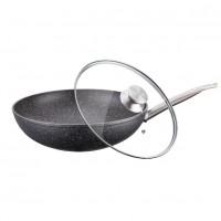 Tigaie wok cu capac Peterhof, diametru 30 cm, interior granit, maner inox, Negru
