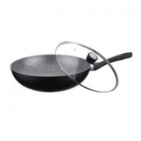 Tigaie wok cu capac Peterhof, diametru 32 cm, interior granit, Negru