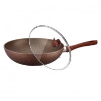 Tigaie wok cu capac Peterhof, diametru 32 cm, interior granit, Rosu