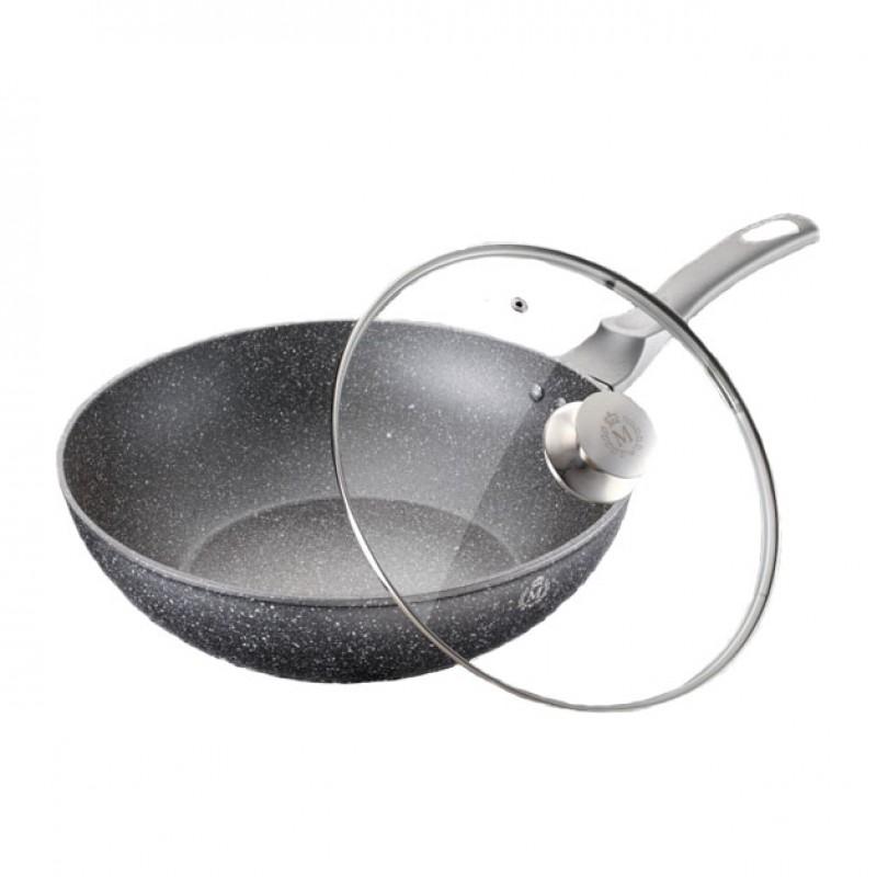 Tigaie wok cu capac, diametru 30 cm, interior granit, Negru