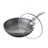 Tigaie wok cu capac, diametru 32 cm, interior granit, Negru