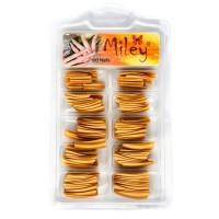 Tipsuri pentru manichiura colorate, 100 bucati, auriu