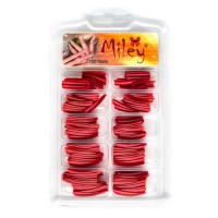 Tipsuri pentru manichiura colorate, 100 bucati, rosu