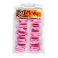 Tipsuri pentru manichiura colorate, 100 bucati, roz