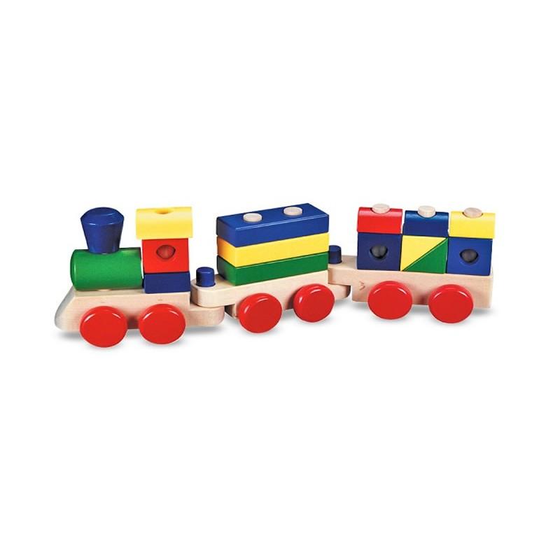 Trenulet din lemn de stivuit 2021 shopu.ro