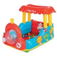 Trenulet gonflabil pentru copii Fisher Price, 132 x 94 x 89 cm, bile incluse