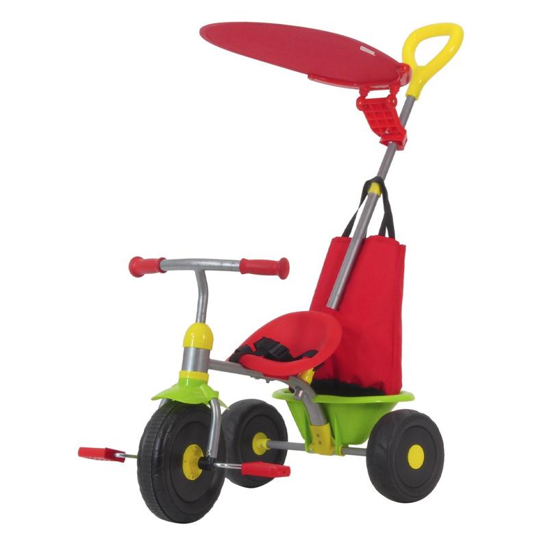 Tricicleta cu parasolar, maxim 20 kg, maner detasabil, centura siguranta, Multicolor 2021 shopu.ro