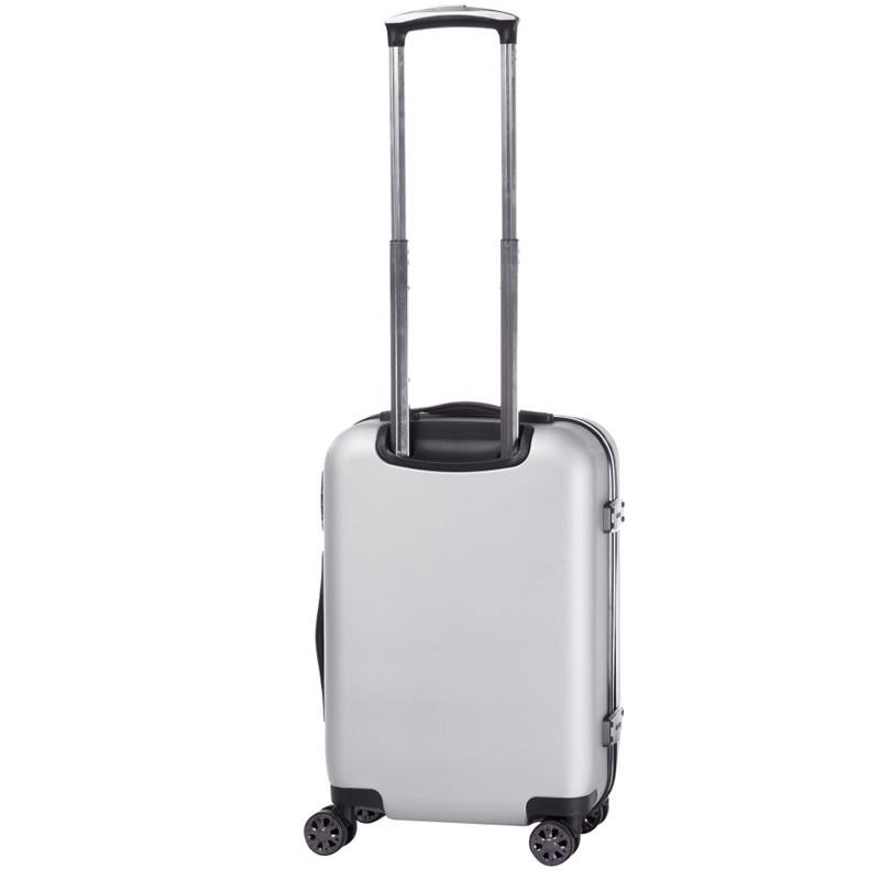 Troler Lamonza Steelcase, ABS, 55 cm, aspect metalic, argintiu